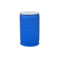 Mitchell Container New 55 gal O-H plastc drum w/fittings in lid, level lock, FDA approved