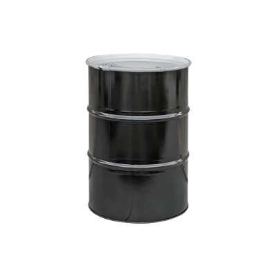 Mitchell Container New 55 gal O-H Steel Drum w/bungs in lid, unlined, black w/white lid