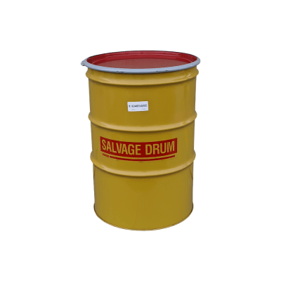 Mitchell Contianer New 85 Gallon Steek Salvage Drum, Lined, UN 1A2/XX435S, Removable Lid and Ring, No Bungs
